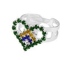 #Anel ajustável #folheado a #prata em forma de coração todo em strass c/ as cores da bandeira brasileira  - Código: AN0407 P - Preço 20,90 - Garantia de 1 ano pós compra. Compre em: www.imagemfolheados.com.br/?a=76729