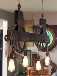 Vintage Industrial Decor Vintage Industrial Lighting Ideas 29 Beautiful Vintage Industrial Style Lighting Fixture Designs To Complement Your Urban Loft Decor, Pulley Light, Home Lighting, Rustic Lighting, Industrial Style Lighting, Vintage Industrial Decor, Diy Lighting, Light Fixtures, Lights