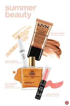 These 4 faves will have you glowing and summer ready in no time. Start by applying NYX Born to Glow liquid illuminator on your cheekbones and cupid's bow. Then use NYX Jumbo Eye Pencil in Cashmere for a subtle glimmer—it's easier than eyeshadow and goes on smooth. Pop a bright color on your lips with NYX High Voltage lipstick for instant summer vibes. And before heading out the door, apply Nuxe multipurpose dry shimmer oil on your arms, legs and face for hydrated, radiant skin from head to…