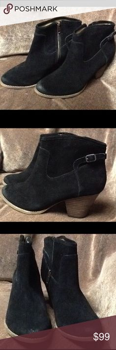 Black Suede Ankle Boots Made by Splendid with the style name of Rebekah. Black cowhide suede. Brand new in original box. Stacked wooden heel that is 2.75 inches. Splendid Shoes Ankle Boots & Booties