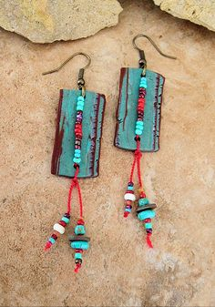Boho Earrings Rustic Colorful Tribal Dangle by BohoStyleMe on Etsy
