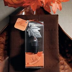 Here is a nature inspired Wine Stopper that features the beauty of a single leaf. This simple yet elegant stopper makes a thoughtful favor for special occasions planned around an autumn or outdoor theme. Includes an artfully designed gift box printed with a swish of graphic leaves, ribbon and gift tag. #wedding favors, #bridal shower favors, #party favors, #personalized favors, #decorations, #bridesmaids gifts, #bridal party gifts, #wedding supplies #timelesstreasure