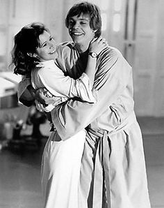 Carrie and Mark during the filming of 'The Empire Strikes Back'
