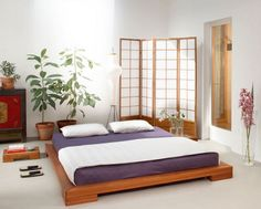 Japanese interior design style has unique characteristics. Japanese interior is a matter of how to design a space that blends with nature. In addition, a modern touch on Japanese interior design al… Zen Bedroom, Bedroom Design, Contemporary Bedroom Design, Bed Design, Bed Styling, Japanese Bed Frame, Interior Design Bedroom, Bedroom Decor, Japanese Style Bedroom