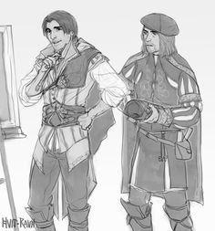 aww dat handsome Ezio with Leonardo