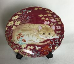 Vintage Burgundy TAKAHASHI Cat Plate Hand Painted -  Cathy - Japan by Anaforia on Etsy