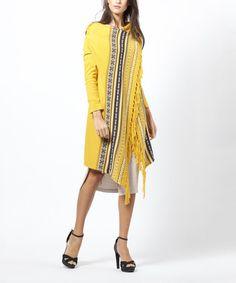 This Yellow Nordic Stripe Wool-Blend Open Cardigan is perfect! #zulilyfinds