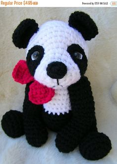 *Please note, this listing is for a PDF format crochet pattern to create a panda bear like the one shown. The finished panda is not included in this listing*  This chubby fellow works up quickly with two strands of your favorite worsted weight yarns held together and a size I crochet hook. Use basic crochet stitches (i.e., single crochet, half double crochet and crocheting in the round). Gauge really isnt important for him, since hes a toy, but my sample is approx. 14 inches tall from the…