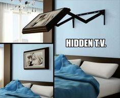 Hidden fold away TV