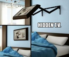 Hidden fold away TV