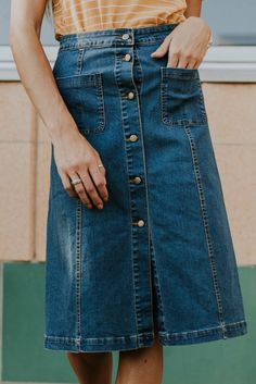 Exclusive bottoms including skirts, pants, denim, jumpsuits & more. It never hurts to take a look. Great styles for your spring wardrobe! Modest Denim Skirts, Denim Skirt Outfits, Modest Dresses, Modest Outfits, Jean Skirts, Modest Clothing, Denim Dresses, Denim Overalls, Midi Rock Outfit