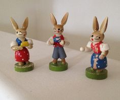 German Easter Rabbits set of 3 by Diddyandcompany on Etsy