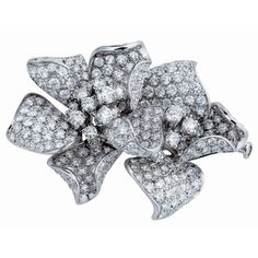 DAMIANI ~ White gold and white diamond flower brooch
