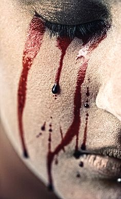 Another nightmarish vision - blood tears.