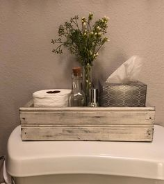 Blessed Farmhouse Style Box Farmhouse Decor Table CenterpieceBack of the Toile ., Blessed Farmhouse Style Box Farmhouse Decor Table Decoration Back of Toilet Mason Jar Box Rustic Wooden Box French Country W. Diy Bathroom, Bathroom Styling, Bathroom Ideas, Simple Bathroom, Half Bathroom Decor, Decorating Bathrooms, Silver Bathroom, Bathroom Table, White Bathroom