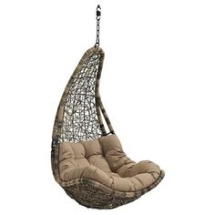 Abate Outdoor Patio Swing Chair   Black/Mocha   Modway, Mocha Black