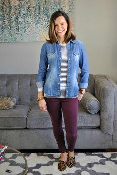 Super cute SAHM outfit!  Striped top, denim shirt, burgundy denim and leopard flats.