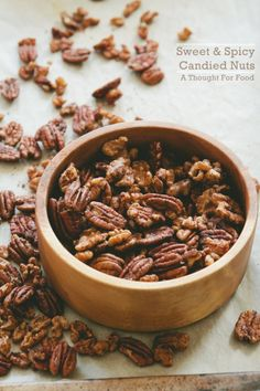 Sweet and Spicy Candied Nuts via A Thought For Food