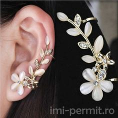 Fleepmart 2019 New Flower Shape Rhinestone Left Ear Cuff Clip Golden Earring. - Fleepmart 2019 New Flower Shape Rhinestone Left Ear Cuff Clip Golden Earring Ear Stud Jewelry G - Golden Earrings, Crystal Earrings, Crystal Jewelry, Golden Jewelry, White Earrings, Rhinestone Jewelry, Crystal Rhinestone, Ear Jewelry, Jewelry Gifts