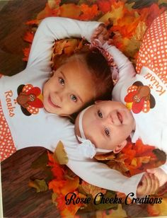 Matching Baby Girl Toddler Turkey Thanksgiving Dresses - Big Little Sister Set Matching Outfits - Family Pictures - First Thanksgiving $80.00