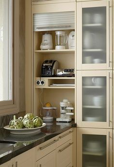 Wooden Kitchen Appliance Storage with Glass Door