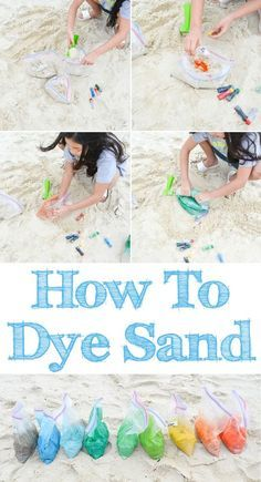 How To Color Dye Beach Sand Tutorial - Learn how to dye sand with food coloring and make colorful sand castles and other beach arts and crafts. Create a rainbow of fun colors. It's perfect for Spring Break or summer trips!