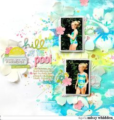Here's my layout for Summer Scrappin' Series! I tried to recreate Reese's swim suit for my background using distress oxides… Travel Scrapbook Pages, Kids Scrapbook, Scrapbook Journal, Scrapbooking Layouts, Baby Sketch, Smash Book Pages, Baby Album, Distress Oxides, American Crafts