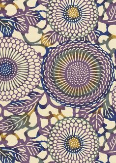 Chiyogami or yuzen paper - Japanese chrysanthemums, purple and navy blue with moss green and ochre accents