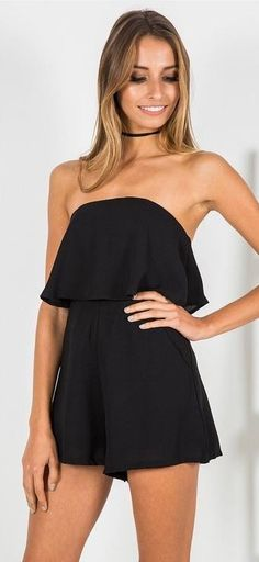 #whitefoxboutique #spring #Summer #outfitideas | OTS Romper Black Source
