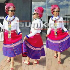 Traditional Xhosa Umbaco Skirts - Sunika Traditional African Clothes Latest African Fashion Dresses, African Dresses For Women, African Print Fashion, African Women, African Clothes, Tsonga Traditional Dresses, Traditional Dresses Designs, Traditional Outfits, Traditional Design