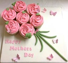 Happy Mothers day pink rose cupcake bouquet board. Gift. Spring. Bespoke cupcakes and cakes designed and handmade by A Taste of Wonderland #cupcakes #cupcakebouquet
