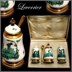 French Sterling Silver Vermeil and Sevres Porcelain Condiment Set 4 pc with Box