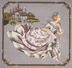 "From Mirabilia is this cross stitch pattern titled ""Cinderella"" depicting Cinderella as she makes her escape from the ball! The pattern is . Stitch And Angel, Cross Stitch Angels, Cross Stitch Baby, Cross Stitch Kits, Cross Stitch Designs, Cross Stitch Patterns, Cross Stitching, Cross Stitch Embroidery, Cross Stitch Numbers"