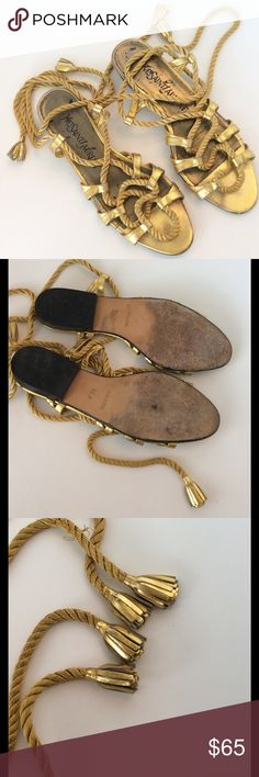 Vintage Yves St Laurent Gold Gladiator sandals Vintage Yves St Laurent Gold Gladiator sandals. These have imperfections and wear, however, thy still have tons of life left in them. See pictures Yves Saint Laurent Shoes Sandals