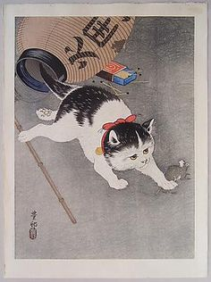 OHARA SHÔSON (1877-1945) Cat pounces on a mouse after knocking over a paper lantern, ca. 1930