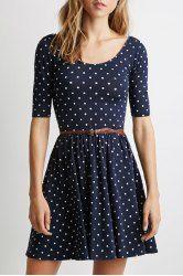 Graceful Scoop Collar Half Sleeve Polka Dot Backless Women's Dress
