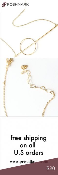 """N1069 - new gold dipped circle bar dainty necklace 14k gold dipped 