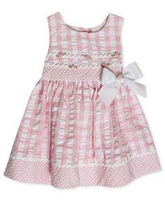 Bonnie Baby Dress, Baby Girls Pink and White Seersucker Dress - Kids Dresses & Dresswear - Macys