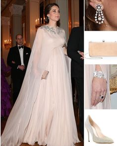 OSLO 01 February 2018 - Black Tie Dinner Hosted by King Harald & Queen Sonja of Norway  Alexander McQueen Caped Gown Oscar de la Renta 'Cabrina' Platinum Pumps ($690) Jimmy Choo 'Celeste' Clutch in Ballet Pink ($1495) HM's Diamond Parliament Drop Earrings HM's Diamond Wedding Bracelet - whatwouldcatherinewear.tmblr.com
