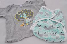 Cloth diaper cover and matching embellished tee - foxes on Etsy, $27.00