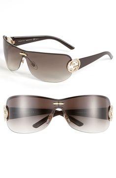 95a3739f905 Gucci 74mm Swarovski Crystal Rimless Shield Sunglasses
