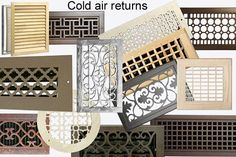 Decorative Vent Covers Grilles | Cold air returns, custom sizes and matching registers