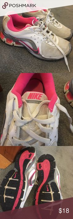 Cute pink and white Nike's! Have been worn and washed but still in GREAT shape! Comfortable to run and workout in! Make me an offer!! Nike Shoes