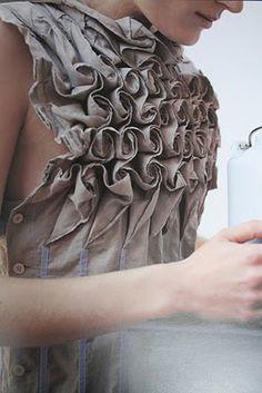 Rose bud textures - fabric manipulation for fashion Textile Manipulation, Fabric Manipulation Techniques, Textiles Techniques, Sewing Techniques, Design Textile, Pleated Fabric, Textile Fabrics, Sculptural Fashion, Fashion Art