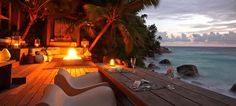 One of the attractions that the North Island Luxury Hotel Seychelles includes is the long pool which has a great view of the pool deck and the horizon. George Clooney, Les Seychelles, Romantic Candle Light Dinner, S Spa, Great View, Best Hotels, Wonderful Places, Sun Lounger, Island
