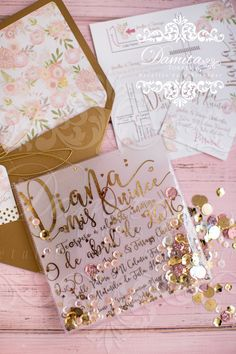 Invitation gold, invitation XV, invitation pink, invitation girl, invitation shaker, invitacion XV años, invitation sweet, invitacion rosa y dorado
