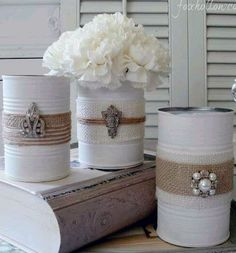 embellished tin cans with burlap- photo only
