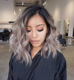18 medium long hairstyles for thick hair – hair style for women Ombre Hair Color, Hair Color Balayage, Cool Hair Color, Hair Highlights, Ash Brown Balayage, Hair Color Asian, Ash Blonde Balayage Short, Ashy Blonde Hair, Black To Blonde Hair