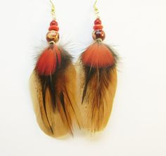 Real feather earrings red parrot feather by FeathersnThingz