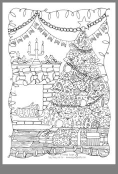 School Coloring Pages, Coloring Book Pages, Coloring Pages For Kids, Printable Christmas Coloring Pages, Printable Adult Coloring Pages, Christmas Ornament Crafts, Christmas Drawing, Mandala Coloring, Christmas Colors